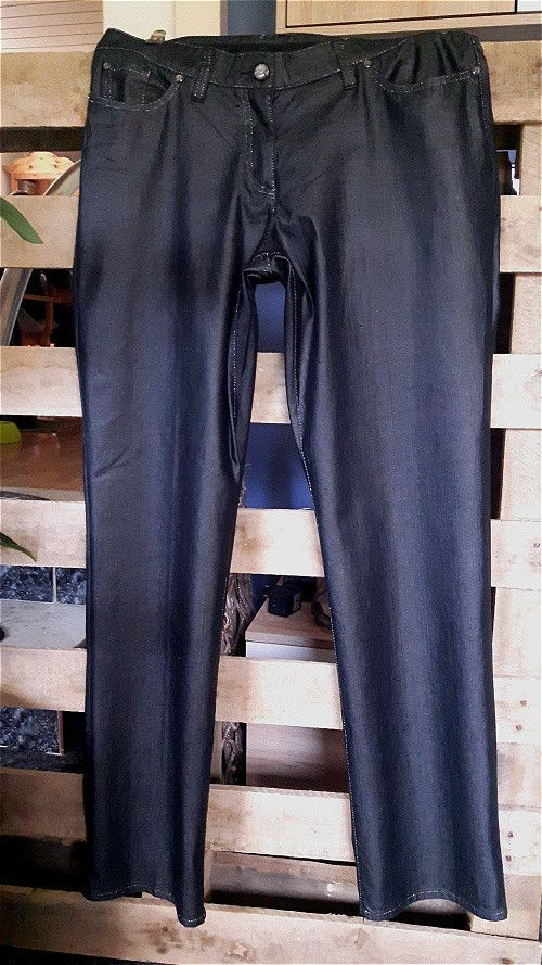 Damen Jeans Chino Hose Gr 44 blau grau