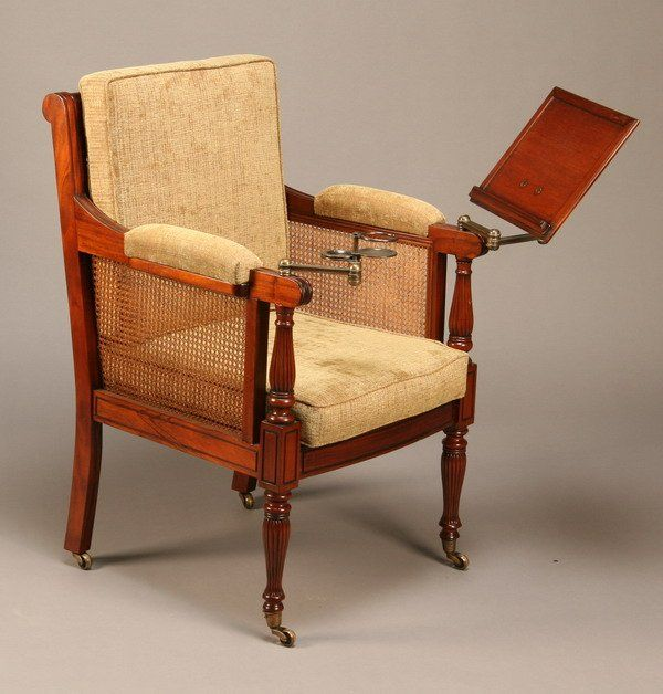 Carved Mahogany British Colonial Style Library Chair With Bronze Swing Arm  Book Rest And Drink Amazing Ideas