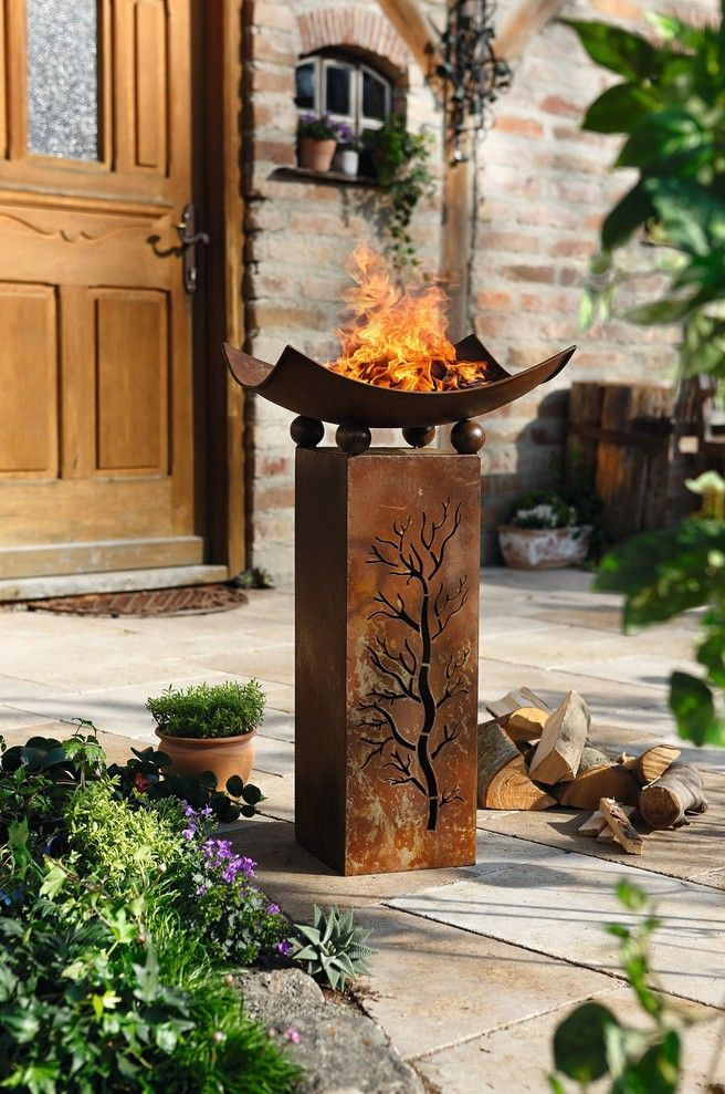 deko s ule feuerschale 2tlg flowers fountains and gardens pinterest feuer garten und. Black Bedroom Furniture Sets. Home Design Ideas