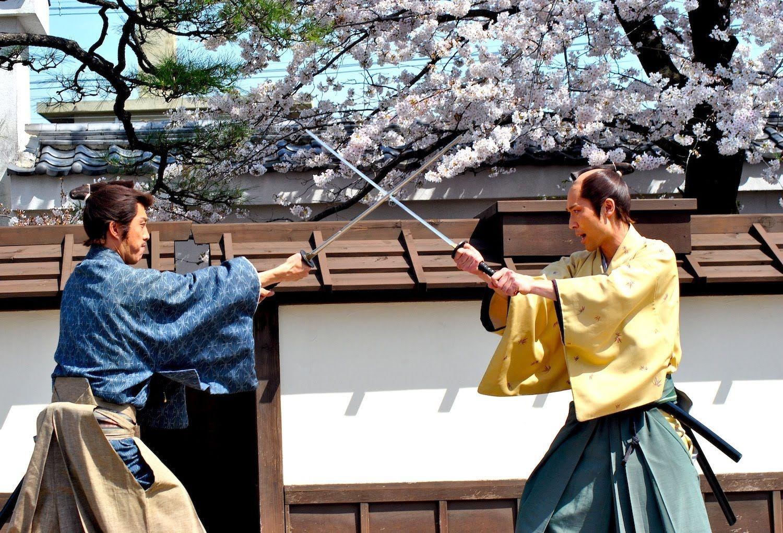 Samurai Swordfight Under The Cherry Blossoms Samurai Japanese History Modern Japan