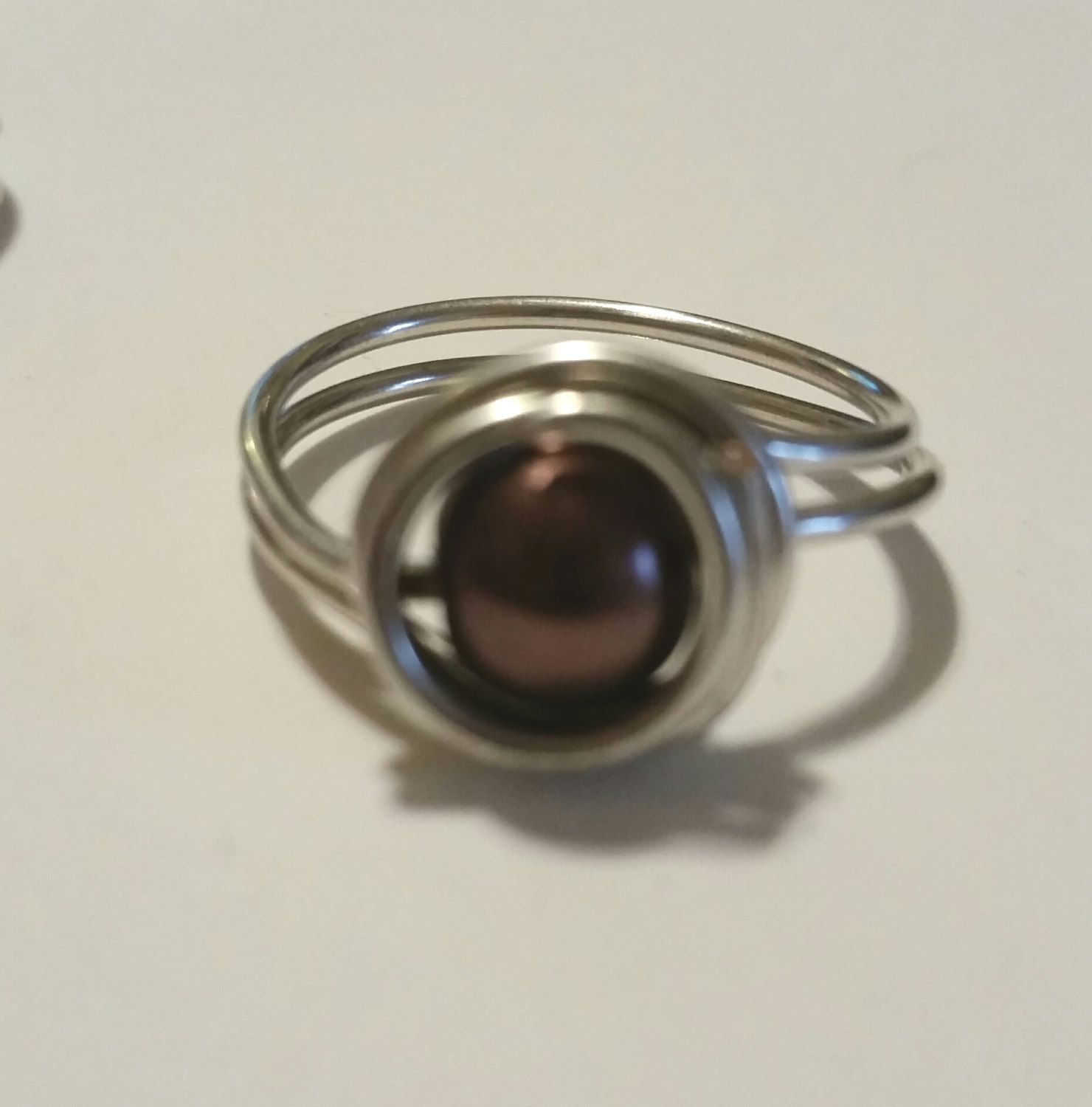 Wire wrapped chocolate colored round bead ring/brown/silver wire/ring by SnoBirdBeads on Etsy