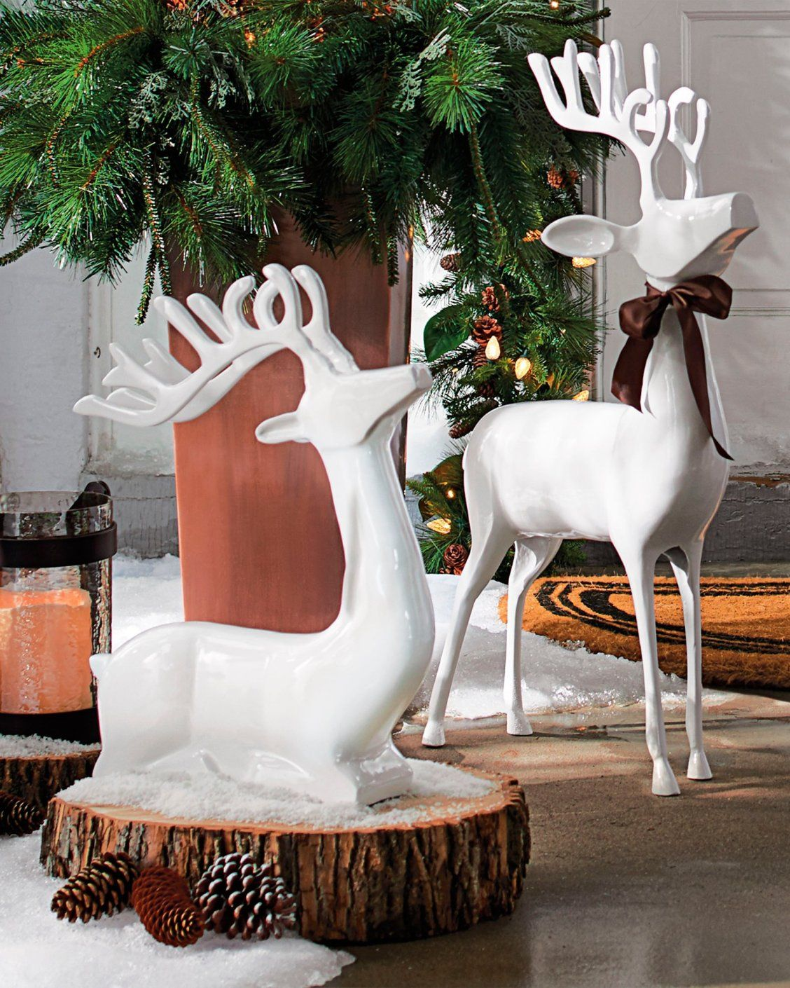 A Majestic Christmas Cast.White Cast Aluminum Standing Deer In 2019 Happy Holiday