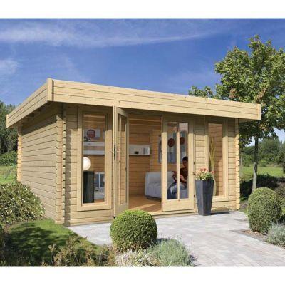 Abri de jardin en bois toit plat 13,69m² - 28mm Karibu, Abri de