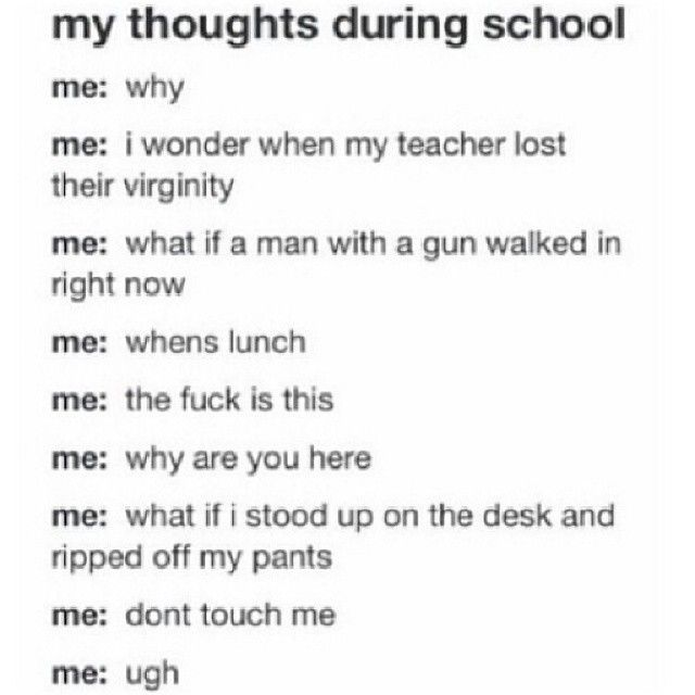 I'm not kidding, I have literally thought all of this at school, including mulling over the sexual history of my teachers.