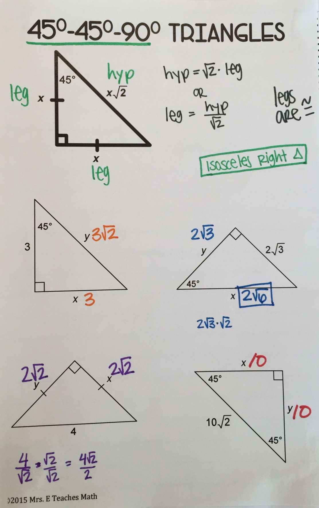 12+ Math 2 Special Right Triangles Worksheet in 2020 ...