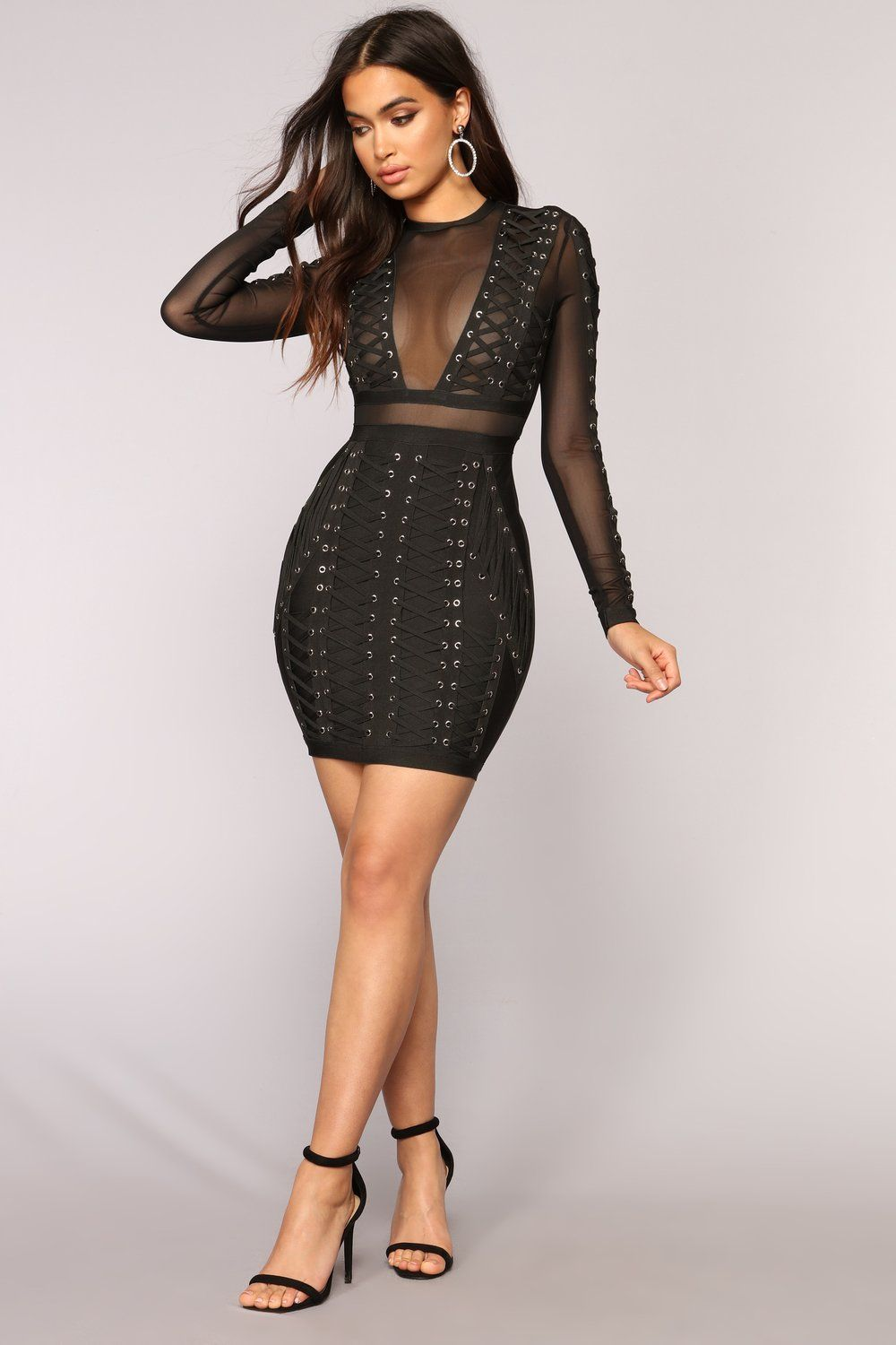 Down With The Clique Bandage Dress  Black is part of Party Clothes Black -  Available In Black Bandage Dress Mesh Cut Out Long Sleeve Lace Up Zipper Closure Self 90% Polyester 10% Spandex Contrast 100% Polyester
