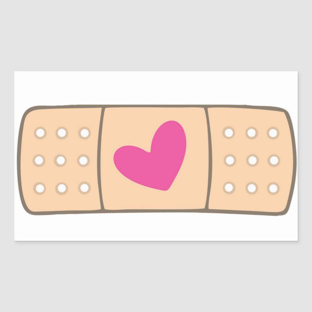 Heart Bandaid Sticker Zazzle Com In 2021 Bandaid Sticker Band Aid Kawaii Stickers [ 1024 x 1024 Pixel ]