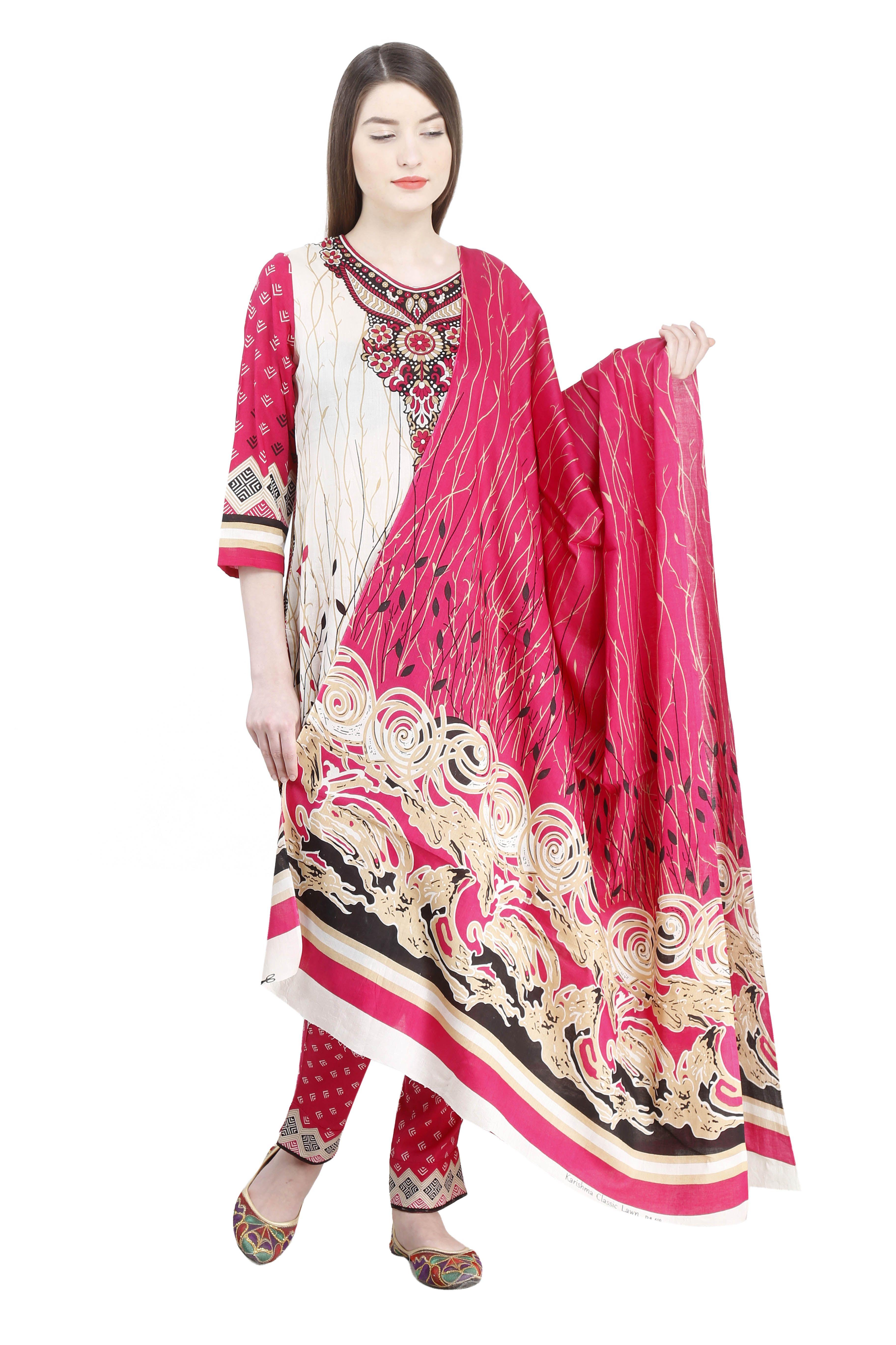 284b3afba5 printed pakistani cotton lawn suit.The suit set has kurta, cigarette pants  and dupatta