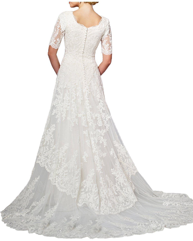 Milano Bride Modest Wedding Dress For Bride White Round Neck Sleeves Applique At Amazon Women S Clot Wedding Dresses Cheap Wedding Dress Modest Wedding Dresses [ 1500 x 1200 Pixel ]