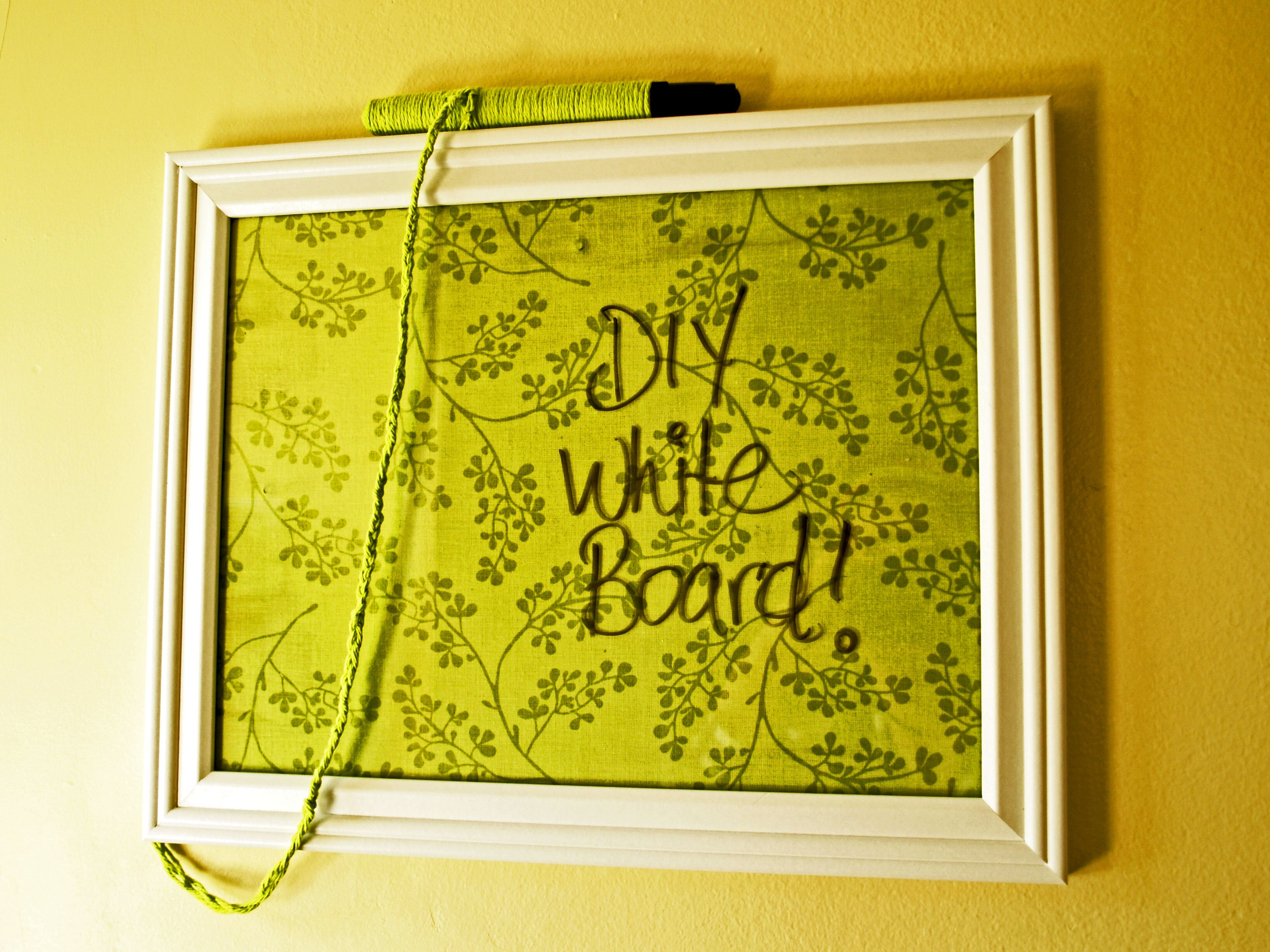 DIY White Board :) picture frame + fabric + mod podge + yarn and a ...