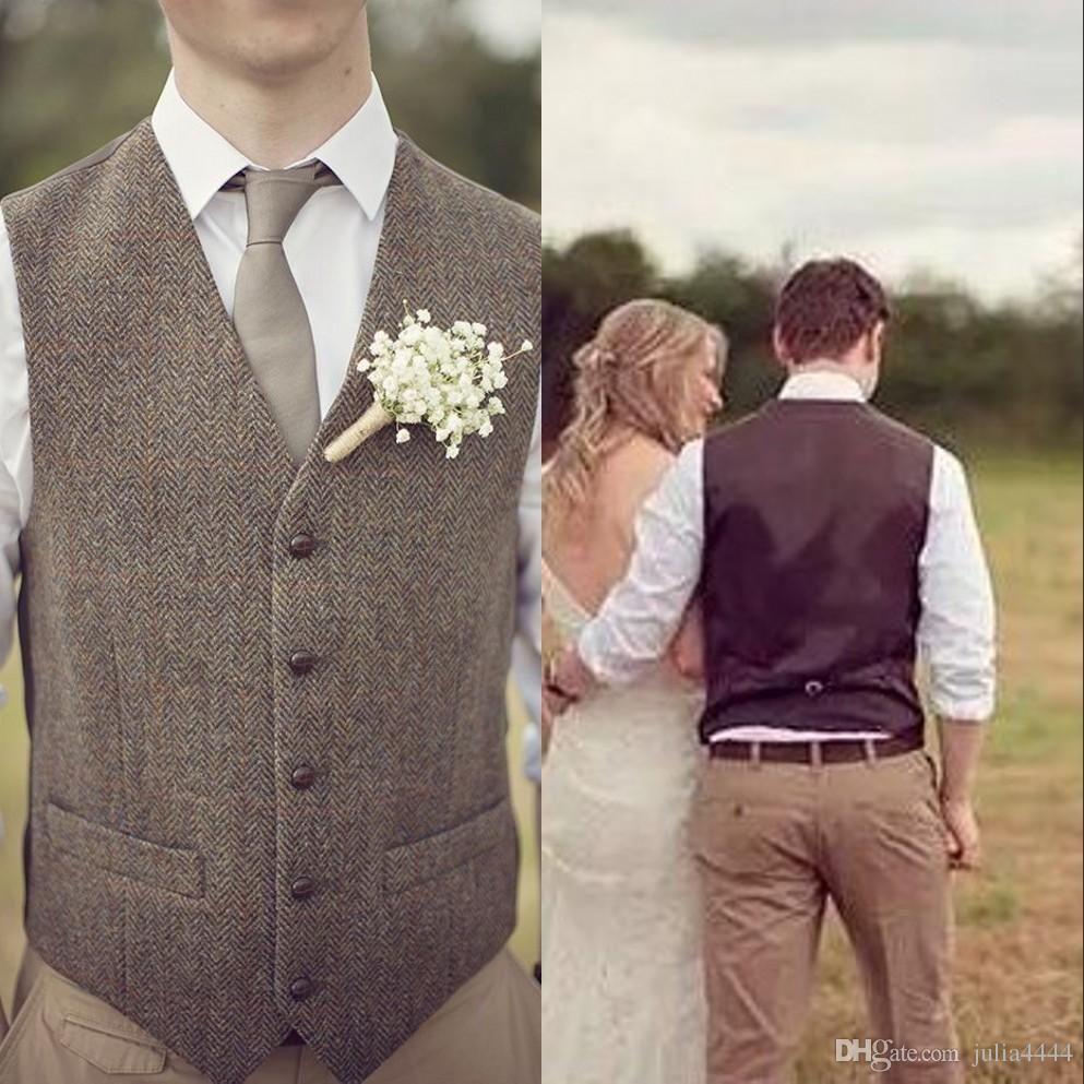 2019 Vintage Brown Tweed Vests Wool Herringbone Single Breasted Custom Made Men S Suit Tailor Slim Fit Blazer Wedding Suit Groom Vest Tweed Vest Mens Suit Vest