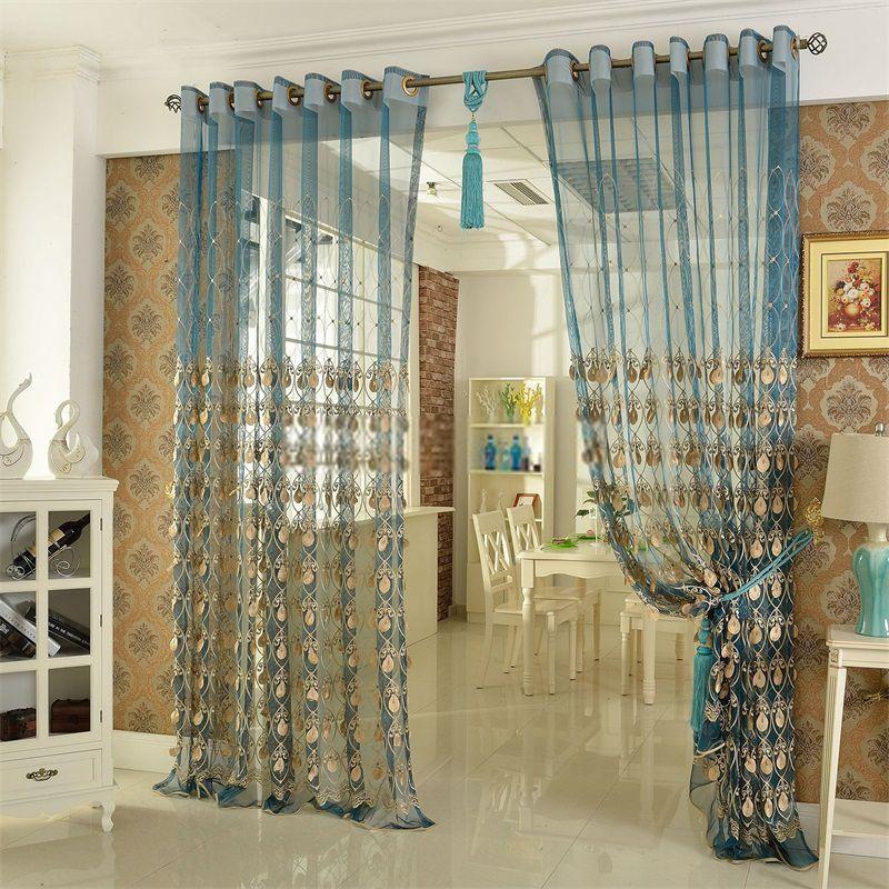 Elegant Embroidery Craftsmanship Teal Sheer Curtain Curtain Decor Teal Curtains Curtains Living Room Modern #sheer #curtain #ideas #for #living #room