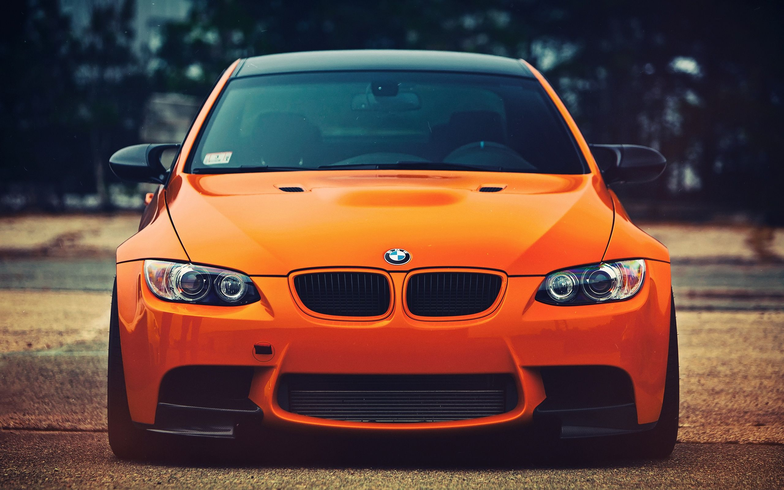 bmw m3 orange car front view wallpapers hd desktop wallpaper  [ 2560 x 1600 Pixel ]