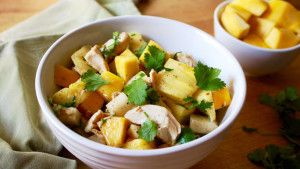 Our recipe for Tropical Salad with Mango, Avocado, and Chicken borrows from the classic LA street flavor of mango with chili powder. It's fresh and complex.