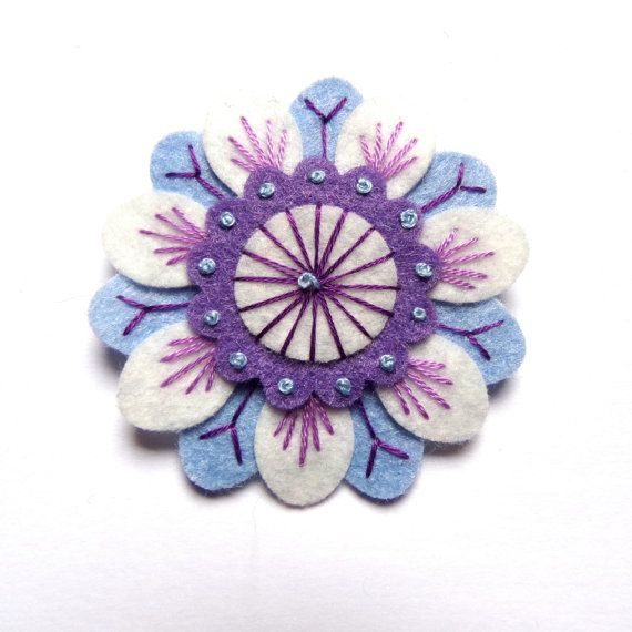 Anemone felt brooch with freeform embroidery by designedbyjane