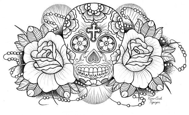 Mexican Sugar Skull Tattoo Coloring Pages | Coloring | Skull ...