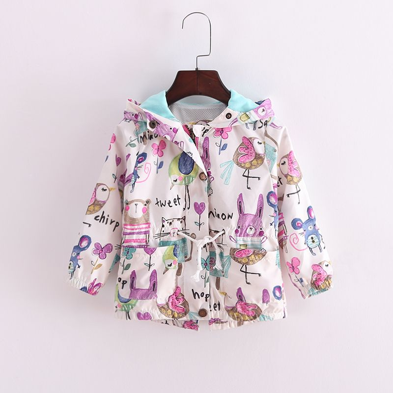 4be5b644202c1 Click to Buy << Baby Coat Baby Girl Clothing Spring Outing Outwear Active  Cute Graffiti Windproof Sunscreen Hooded Cloth For 1-5 Years Kids #Affiliate