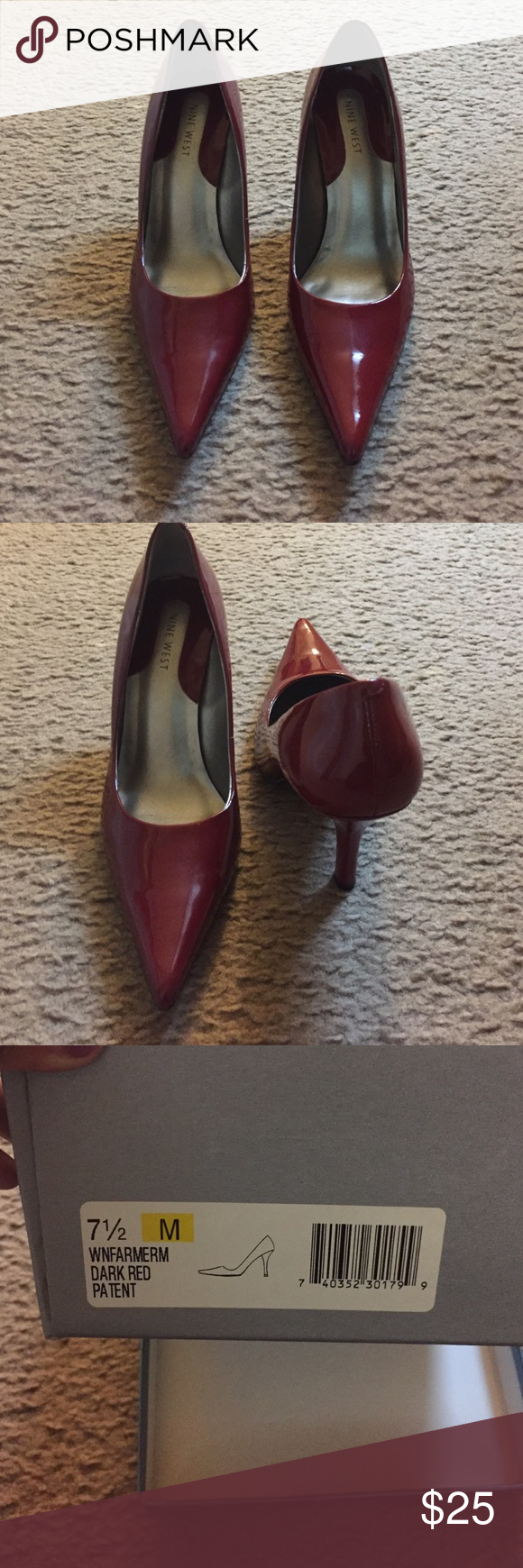 Red heels Wore once. Used condition. Perfect to wear to a fancy party! Nine West Shoes Heels