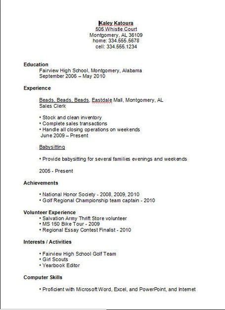 Basic Resume Examples Resume Example Job Resume Examples High School Resume First Job Resume