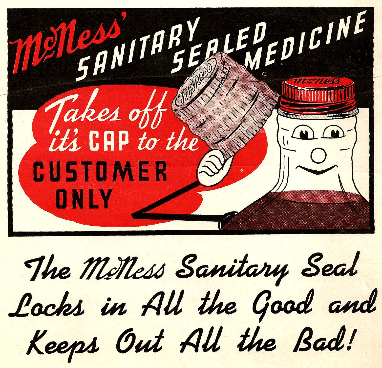 Antique Images: Free Vintage Advertising Clip Art: McNess Medicine 1918 Advertisement in Cook Book.