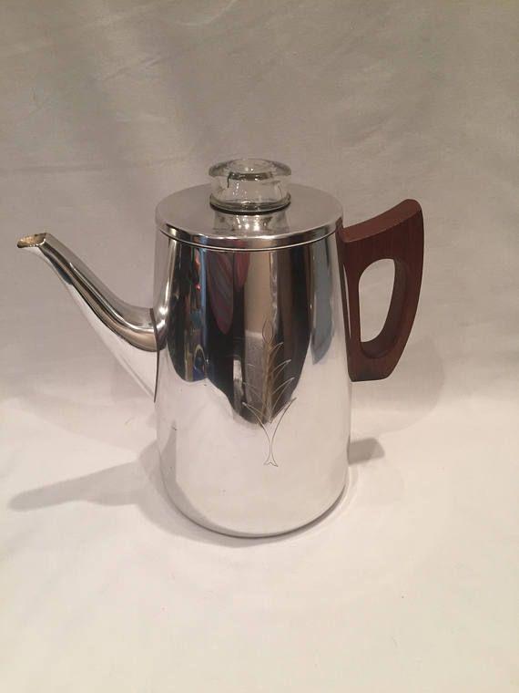 Vintage Retro Sona Coffee Percolator J123b With Wooden Teak Handle