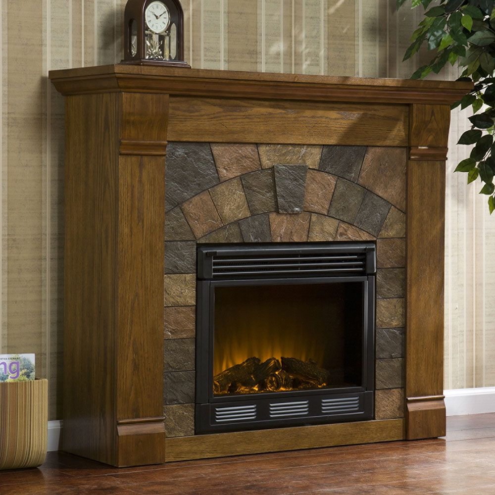 Fireplace Cabinets: Elkmont Electric Fireplace Mantel Package In Antique Oak