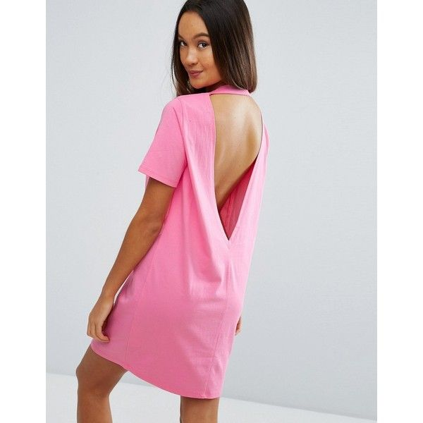ASOS Open Back T-Shirt Dress with V Back ($23) ❤ liked on Polyvore ...