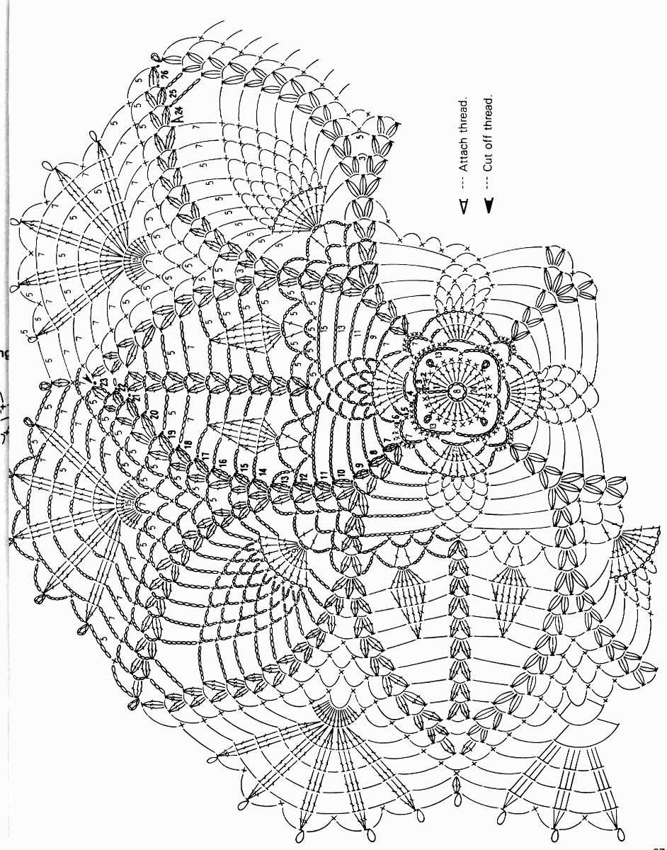 kira scheme crochet  diagrams round tablecloth