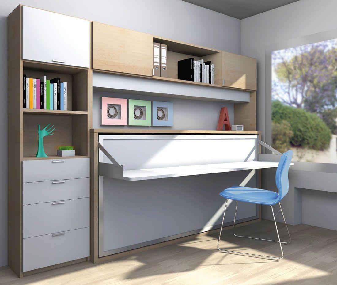 R264 Cama Abatible Individual Con Mesa Complemento Tambien Abatible Facil Mobel Fabrica De Mueb Oficina En Casa Pequena Dormitorios Muebles Ahorra Espacio