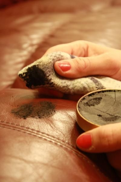 Shoe Polish To Repair Scratches In Leather Sofas/ottomans/chairs Etc. You  Can Use The Tin Or Dab On Bottle With Sponge.