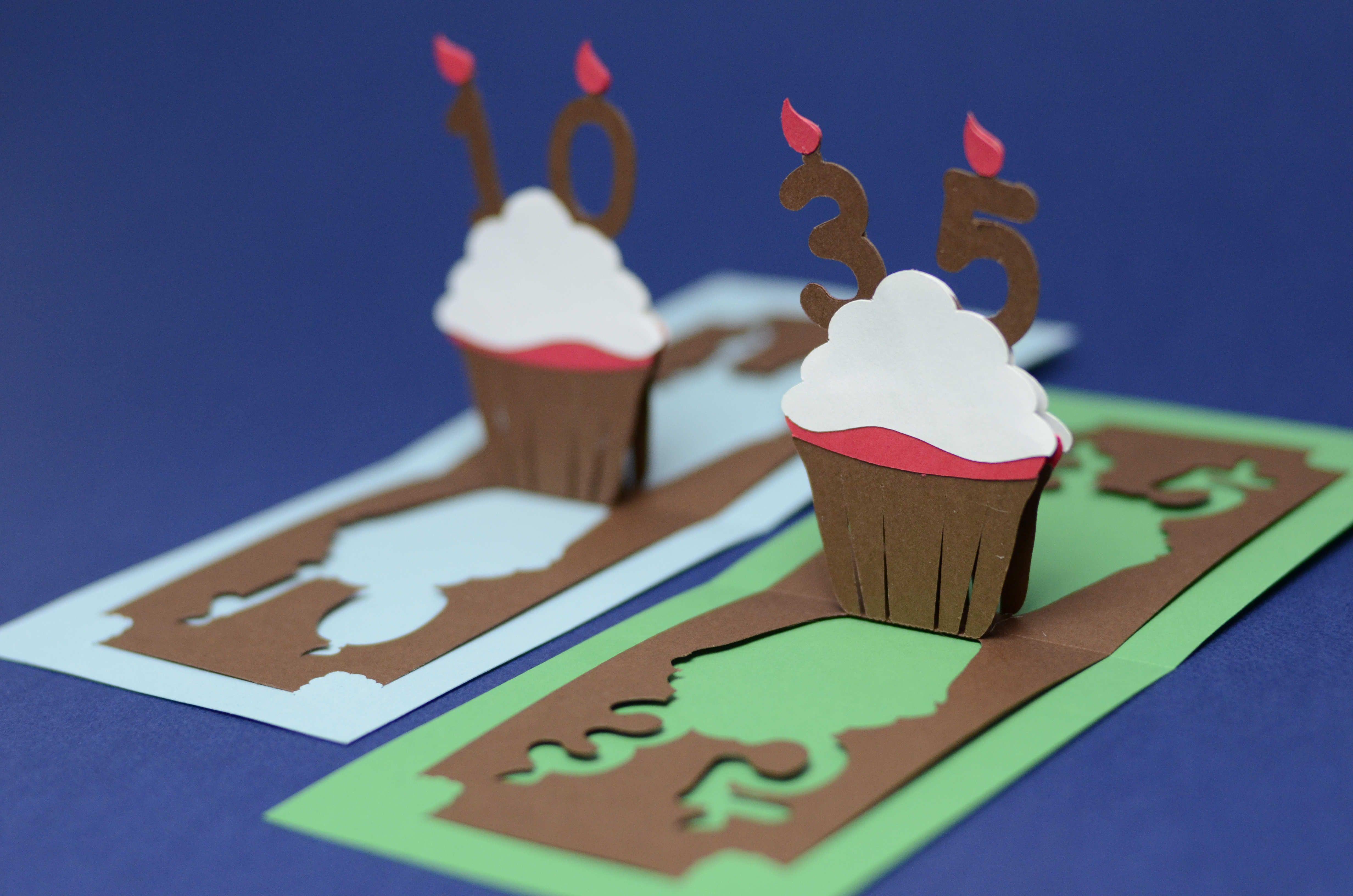 Birthday pop up card detailed cupcake creative pop up