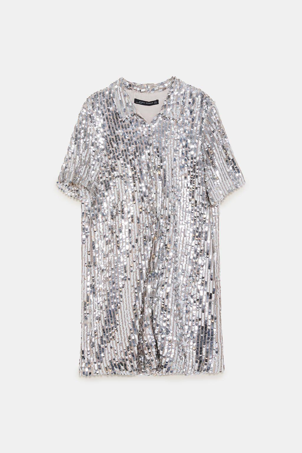 Zdjecie 6 Koszulowa Sukienka Z Cekinami Z Zara Vestido Camisero Vestido Lentejuelas Vestidos Camiseros