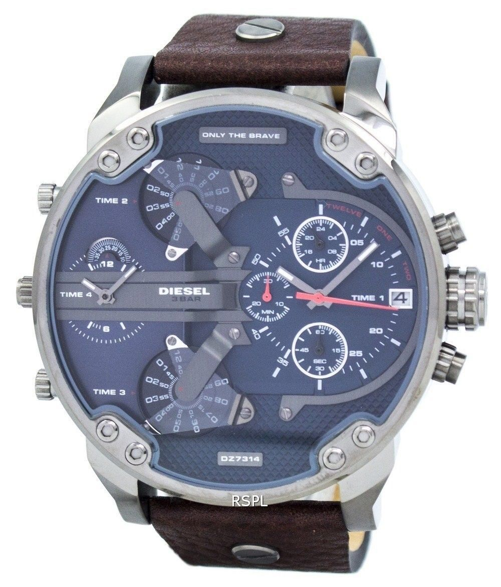 ccd362ac5497 Details about Diesel Mr Daddy Dual Time Chronograph Navy Blue Dial ...