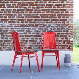 de jardin en métal et teck Toscane rouge