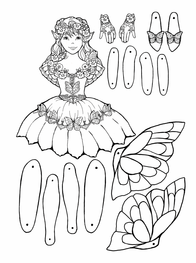 07auggardenfairypuppetbw670 Png 670 900 Pixels Paper Doll Template Paper Dolls Paper Puppets