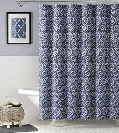 white and navy shower curtain. Navy Blue White IKAT Floral Geometric 100 Cotton Fabric Shower Curtain  Read More At The Image Link Navy Shower Curtain New House Pinterest House