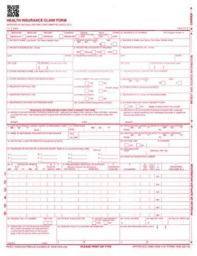 NEW CMS 1500 Claim Forms - HCFA (Version 02/12) 500 per Ream Pack of - reimbursement sheet template