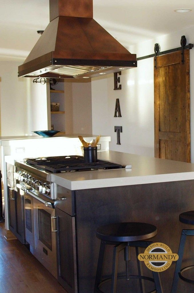 Not all kitchen range hoods are stainless steel. This copper ...