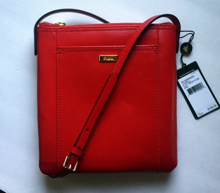 08f9e2ac46fb NWT Lauren by Ralph Lauren Lowell Flat Leather Crossbody in Red ...