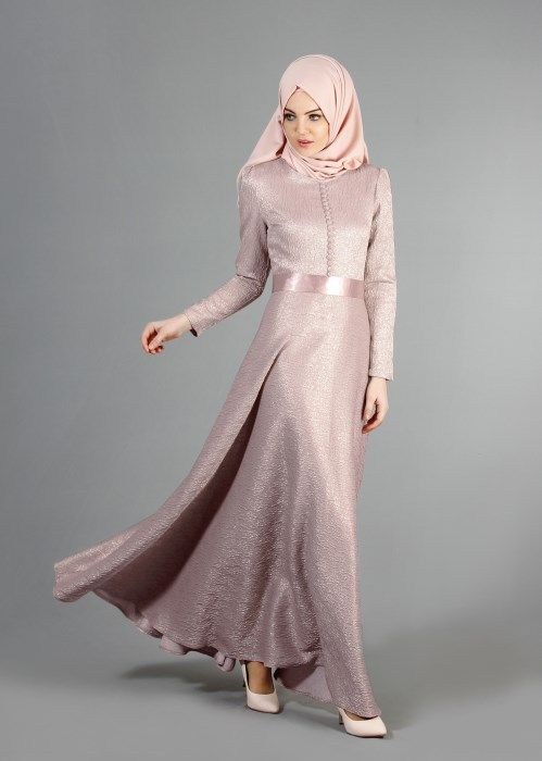 T 2141 Tuay Dugme Detayli Mevlana Kesim Abiye Pudra Musluman Elbisesi Musluman Modasi Giyim