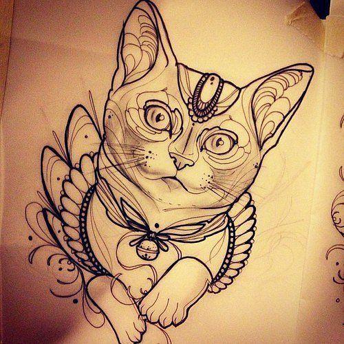1-eskizy-tatuirovok-koty-i-koshki-39.jpg - №1 в тату эскизах | Рисуем на заказ | Фото галерея 10GB | Идеи татуировок