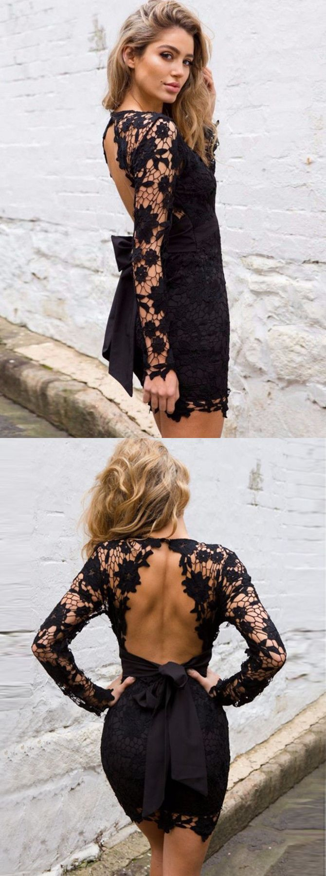 Sheath deep vneck long sleeves open back short black lace