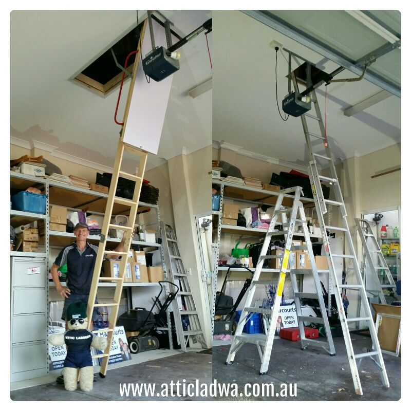 This Extra Long Attic Ladder Was Installed In To A Garage With A 3 5 Ceiling Hight At A Property In Perth Wa By Attic Access Ladder Attic Storage Attic Ladder