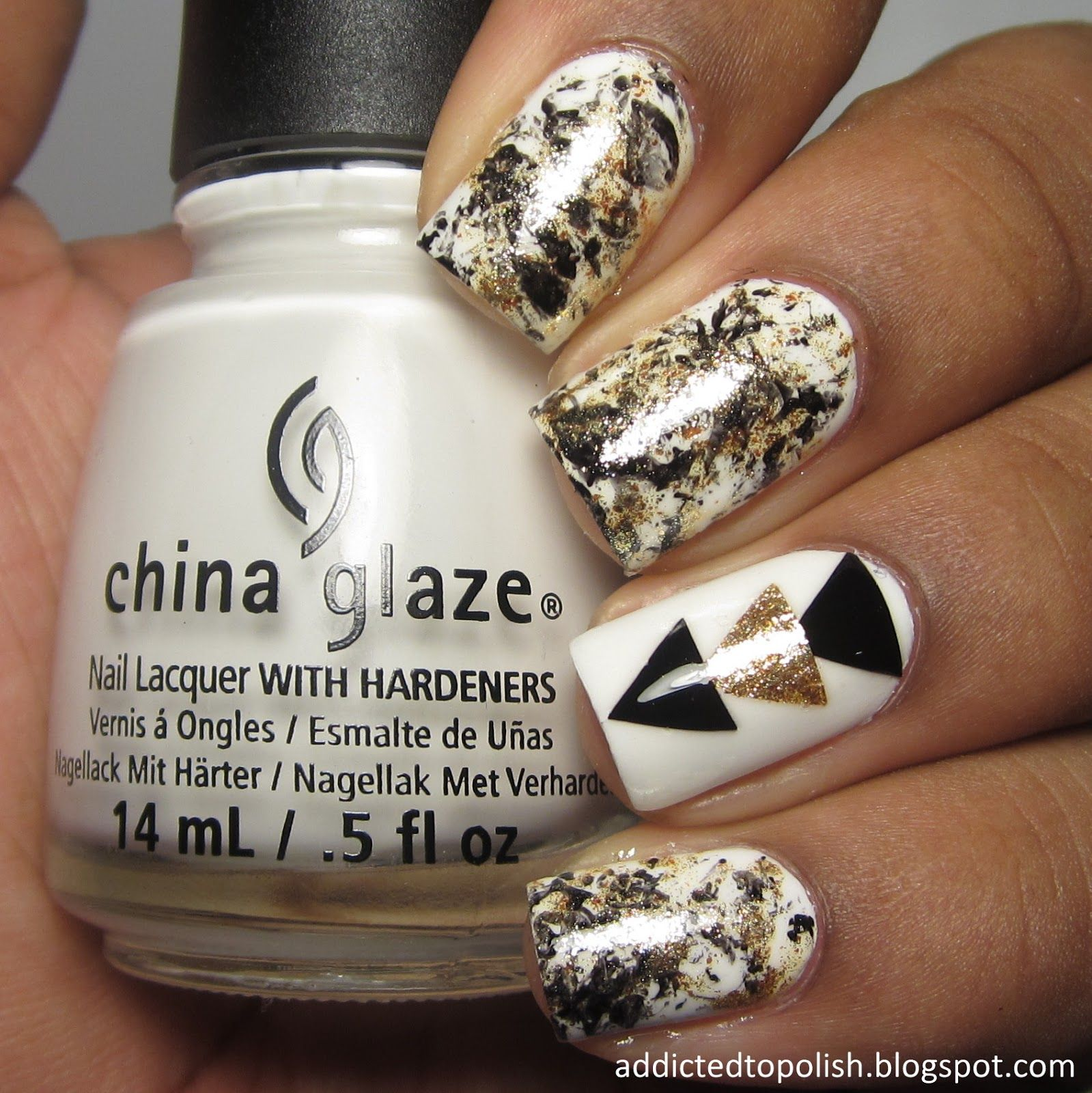 Black, White and Gold Triangle Nail Art (Addicted to Polish) - Black, White And Gold Triangle Nail Art (Addicted To Polish