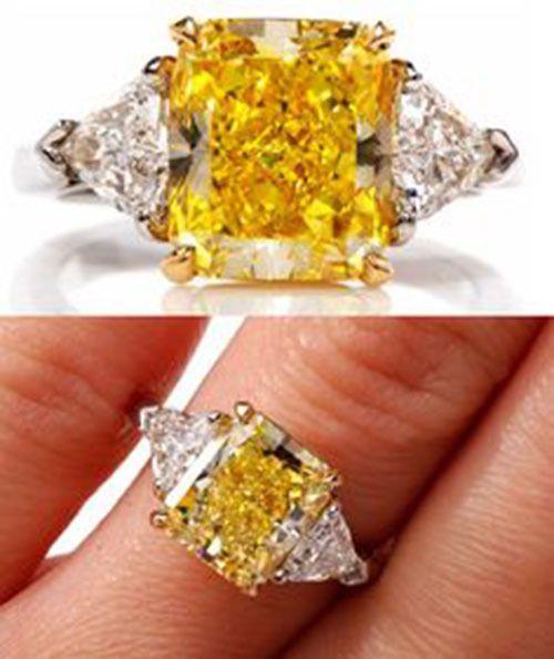 2.00 Carat GIA Fancy Yellow VS2 Radiant Cut Diamond 3 Stone Engagement Ring 18k #DiamondsByElizabeth #3Stone