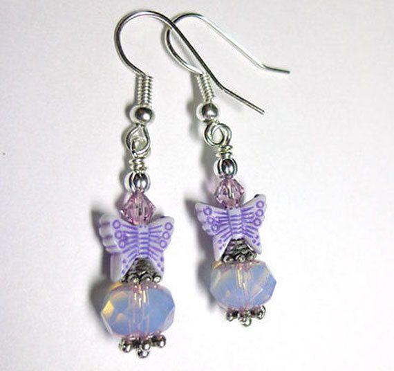 Jewelry Earrings Orchid Amethyst Purple Silver by SpiritCatDesigns, $3.00