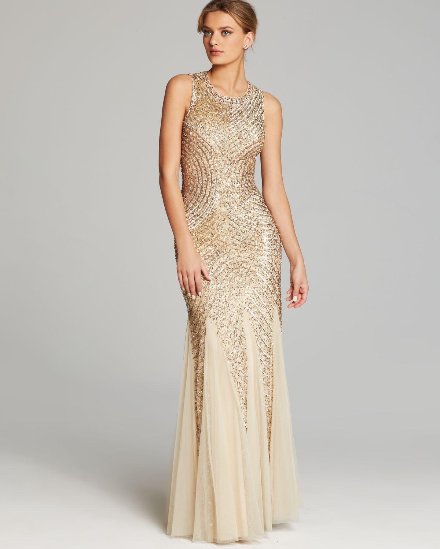 Aidan Mattox Gown Sleeveless Sequin Beaded Godet in Gold (Light Gold ...