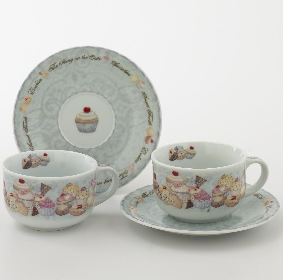 Cupcakes & Cookies Cup & Saucer (8 oz), Set of 2