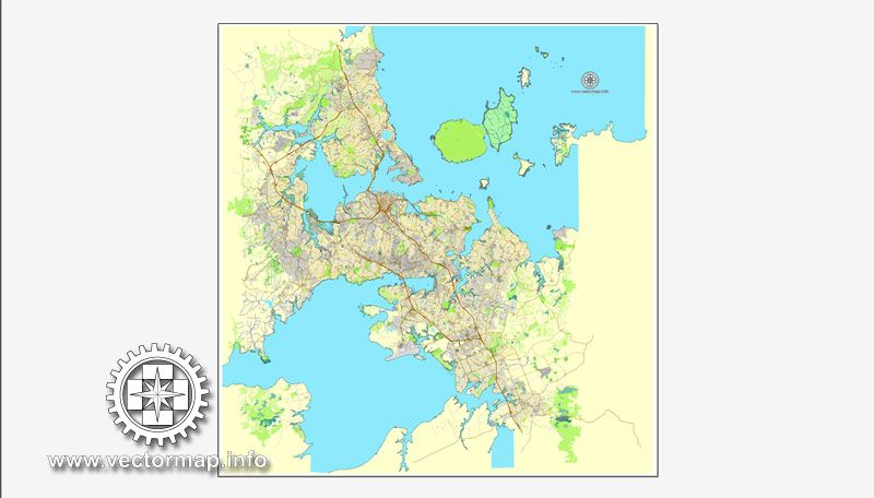 Map Of Auckland New Zealand.Auckland New Zealand For Adobe Illustrator Printable Vector Street