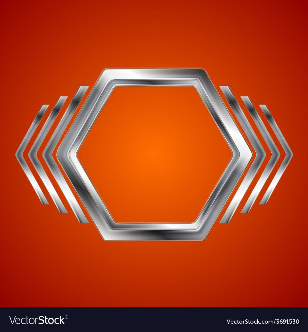 Abstract metal hexagon and arrows shape vector image on ...